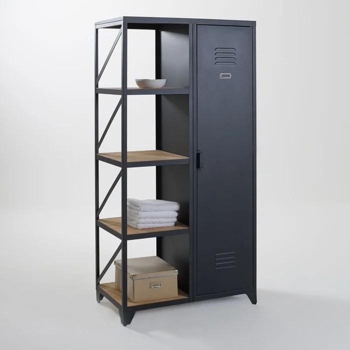 armoire etagere 1 porte metal et pin huile hiba
