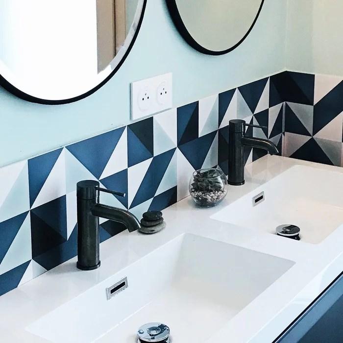 credence salle de bain adhesive scandi indigo lot de 2
