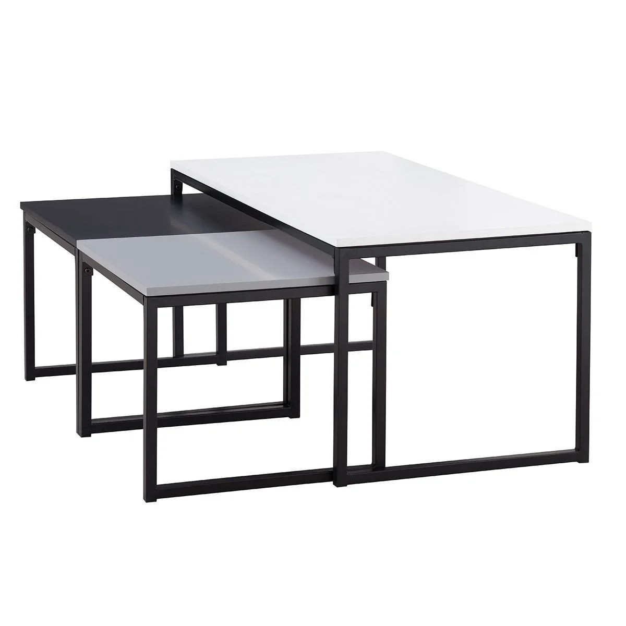 tables basses gigognes et laques mates avec pieds metal lot de 3 trioz