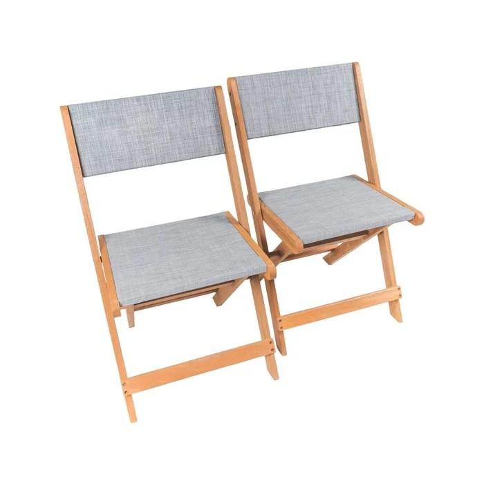 lot 2 chaise pliante textilene bois