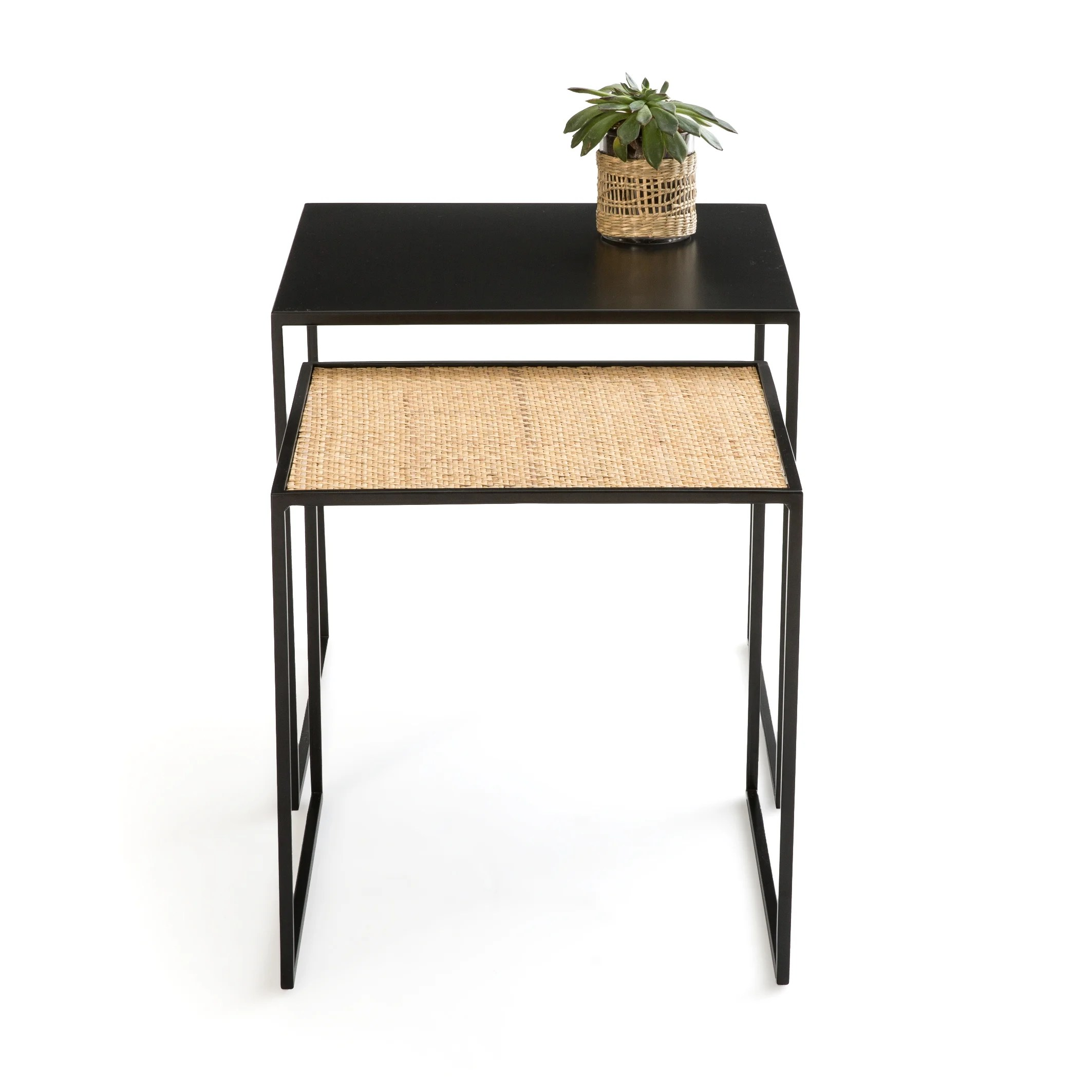 rosali nest of 2 coffee tables in metal cane