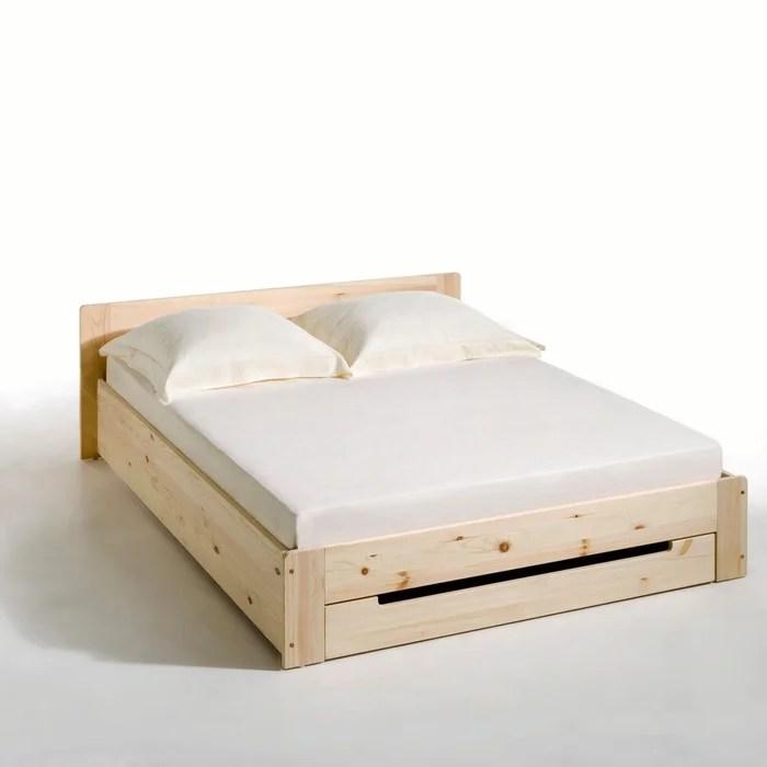 lit pin massif avec sommier et tiroir crawley brut la redoute interieurs la redoute
