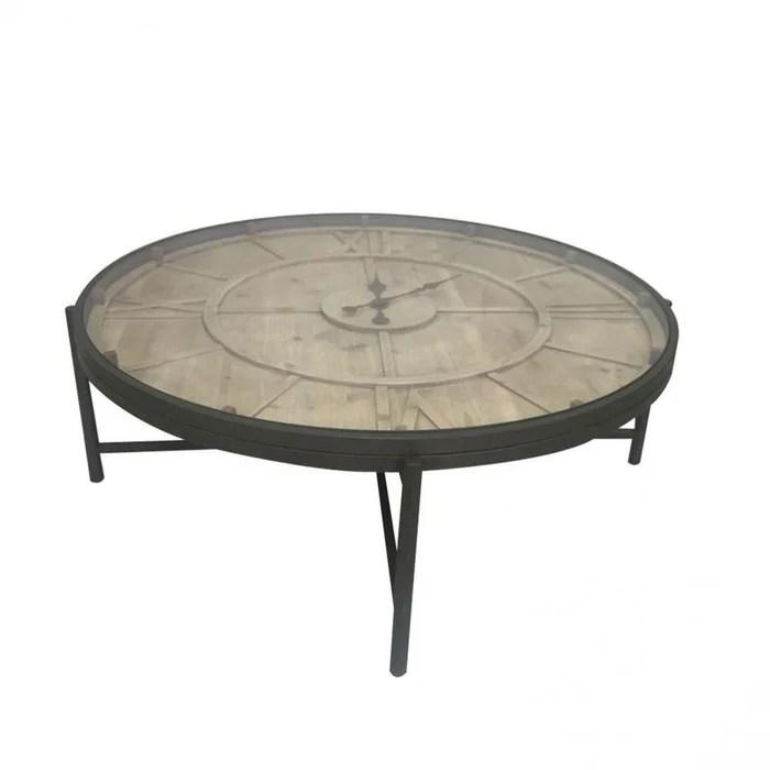 Fabulous Table Basse Ronde Avec Horloge En Mtal Et Pin