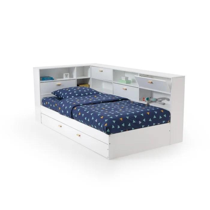 lit avec tiroir rangements et sommiers yann