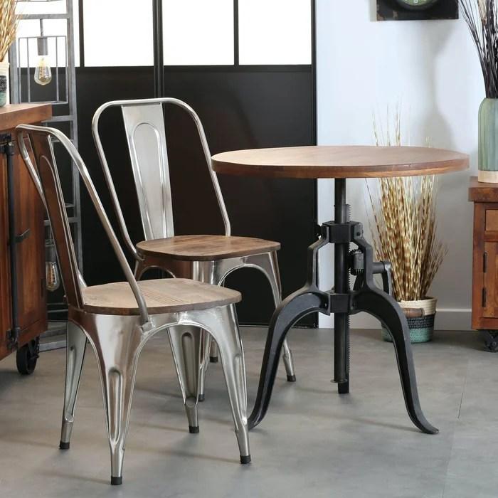 petite table de repas ronde 45cm hauteur reglable bois recycle et metal style industriel leeds