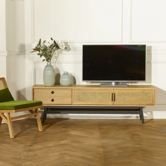 meuble tv chene lalala 2 portes 1 tiroir