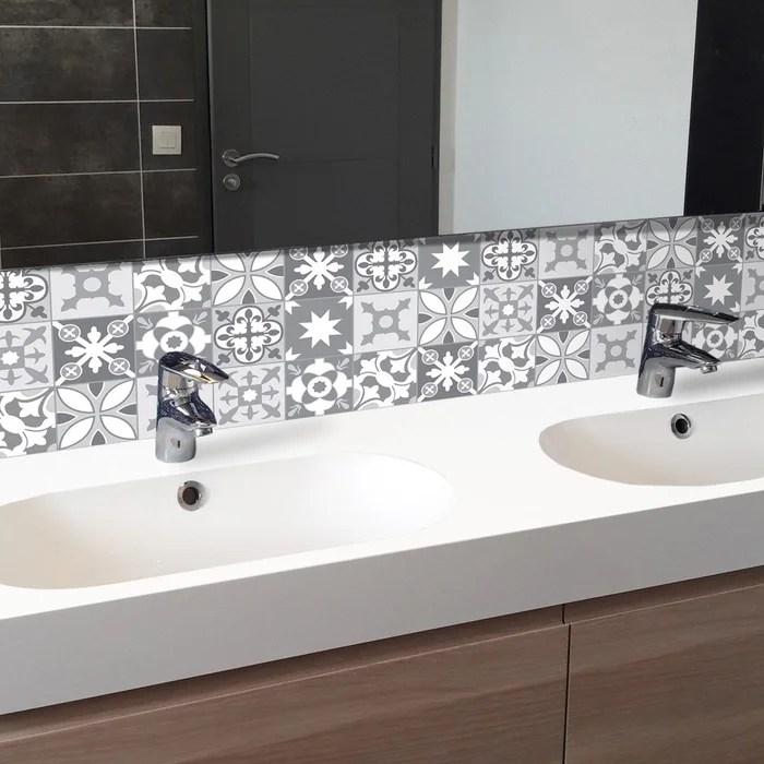 credence salle de bain adhesive tendance ciment gris lot de 2