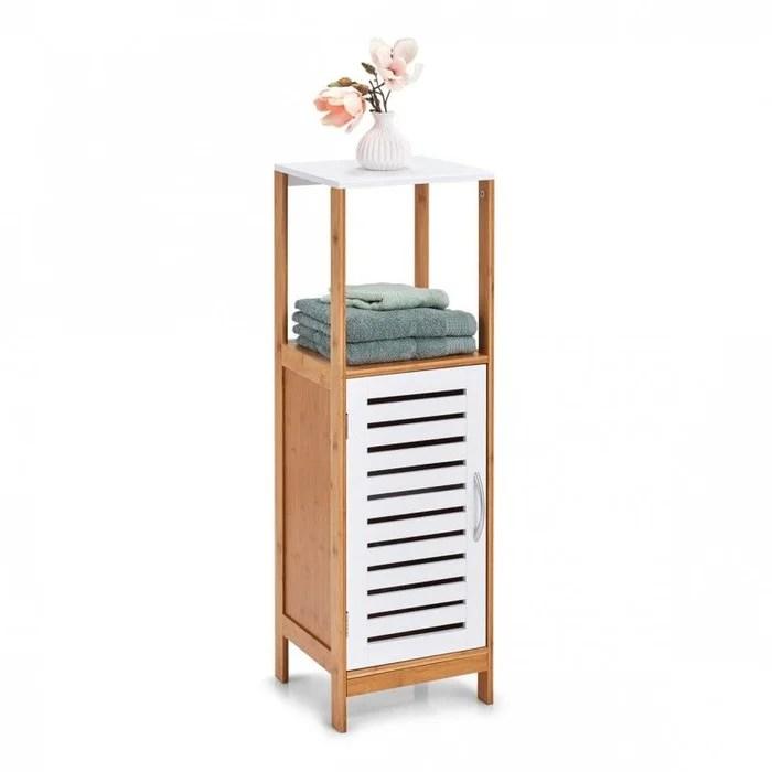 armoire salle de bains colonne bois bambou