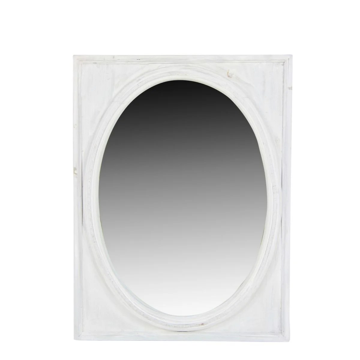 miroir ancien oval vertical bois ceruse blanc 54 5x3 5x72cm