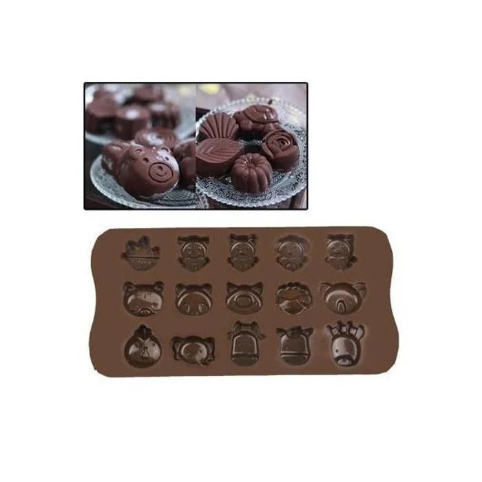 plaque de mini moules silicone animaux originaux 15 formes marron