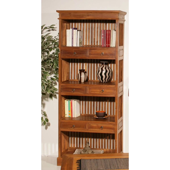 meuble bibliotheque 4 niveaux 190cm bois teck massif 6 tiroirs bisho