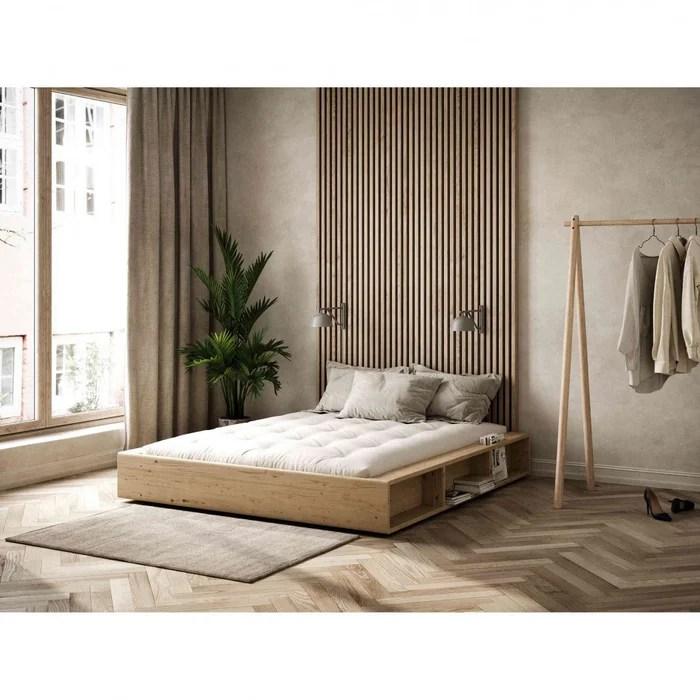 lit en pin massif avec rangements
