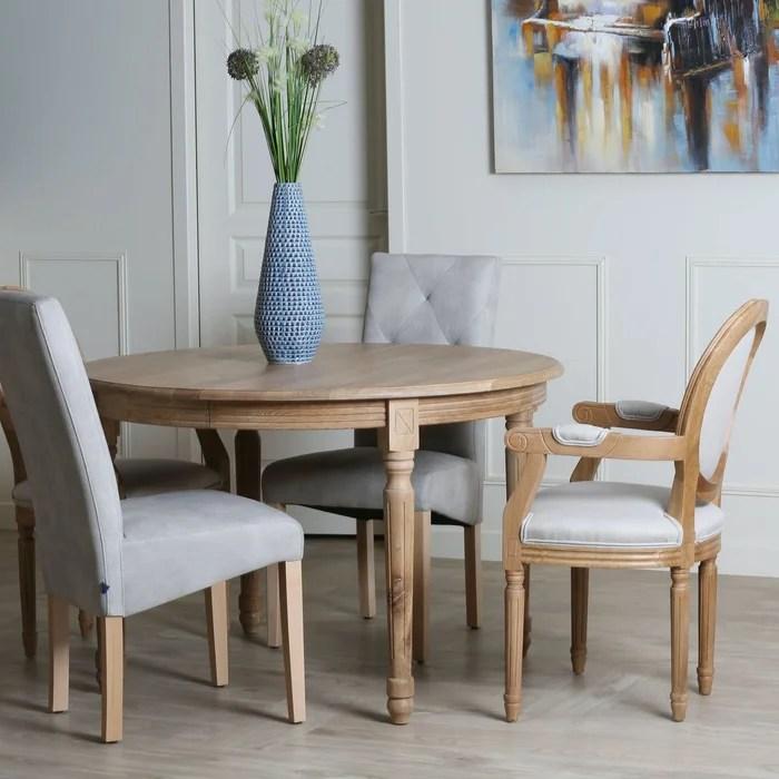 table a manger ronde extensible en chene massif naturel style classique 120 200cm medicis