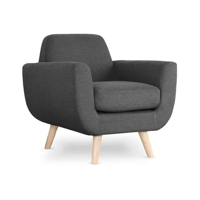 fauteuil scandinave tissu anthracite trell declikdeco image 0