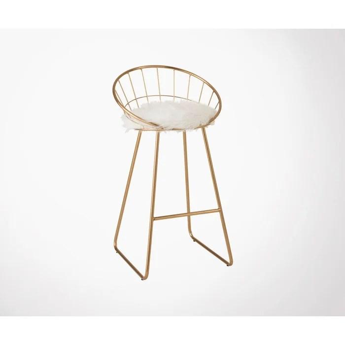 chaise de bar design en metal dore fly