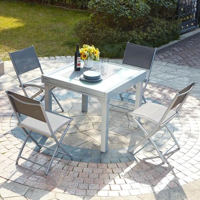 salon de jardin en aluminium table extensible moniga