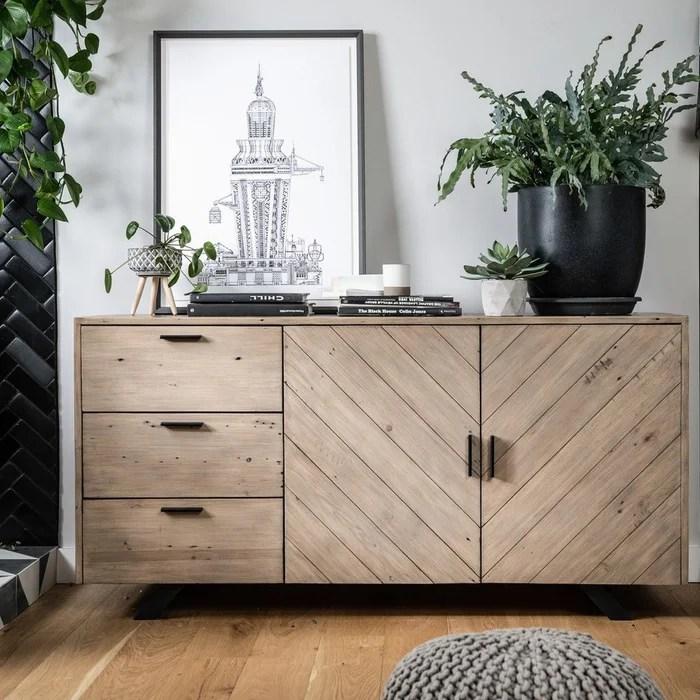 buffet contemporain 150cm en bois recycle 2 portes et 3 tiroirs style moderne vittoria