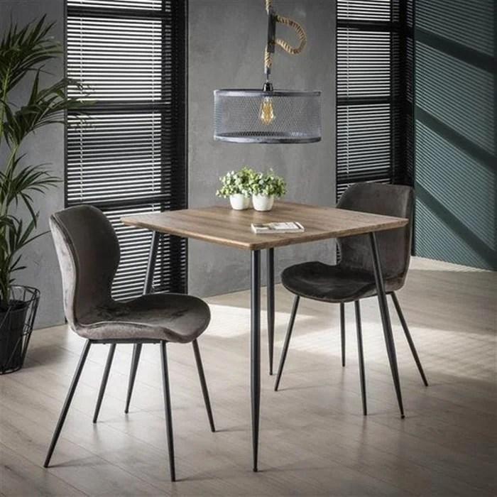 petite table a manger carree style contemporain 80cm plateau bois pieds metal helsinki