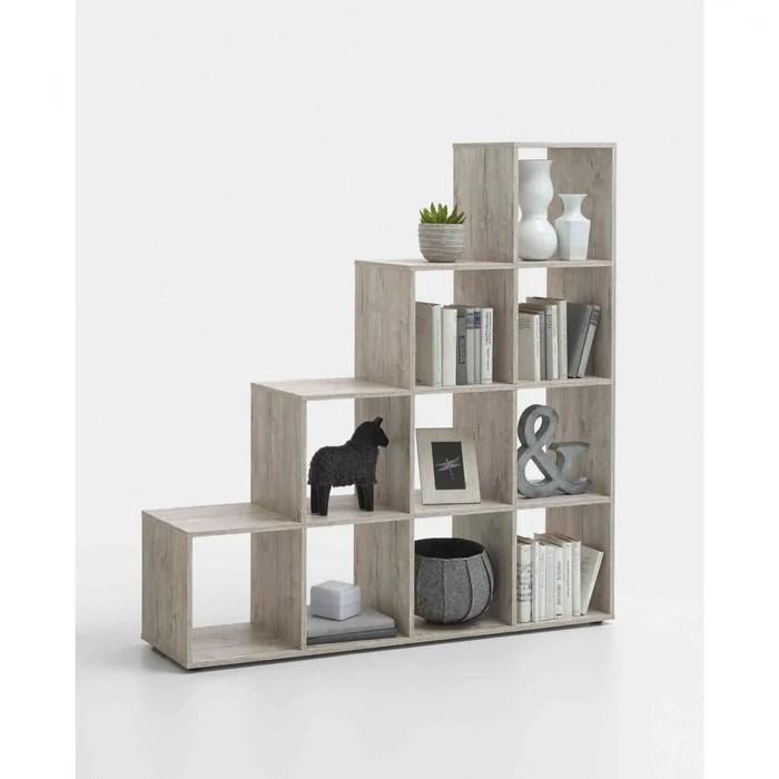bibliotheque escalier 10 cases en bois bi13009