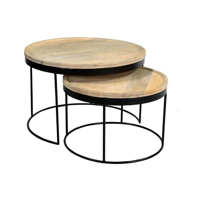 tables basses gigognes manguier massif et metal ledge