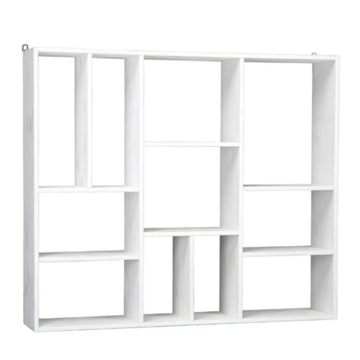 etagere blanche en bois 11 compartiments casper