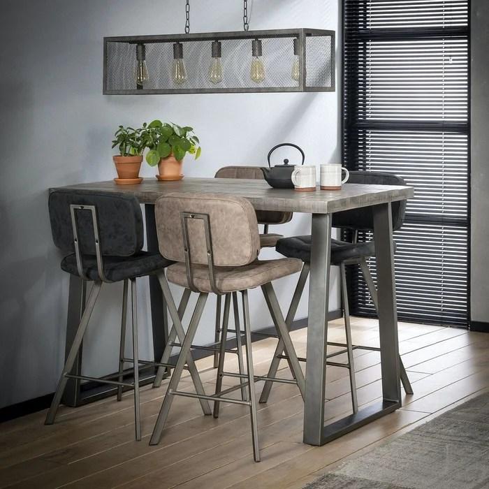 table de bar mange debout industriel en bois de manguier gris et metal acier 135cm lucknow