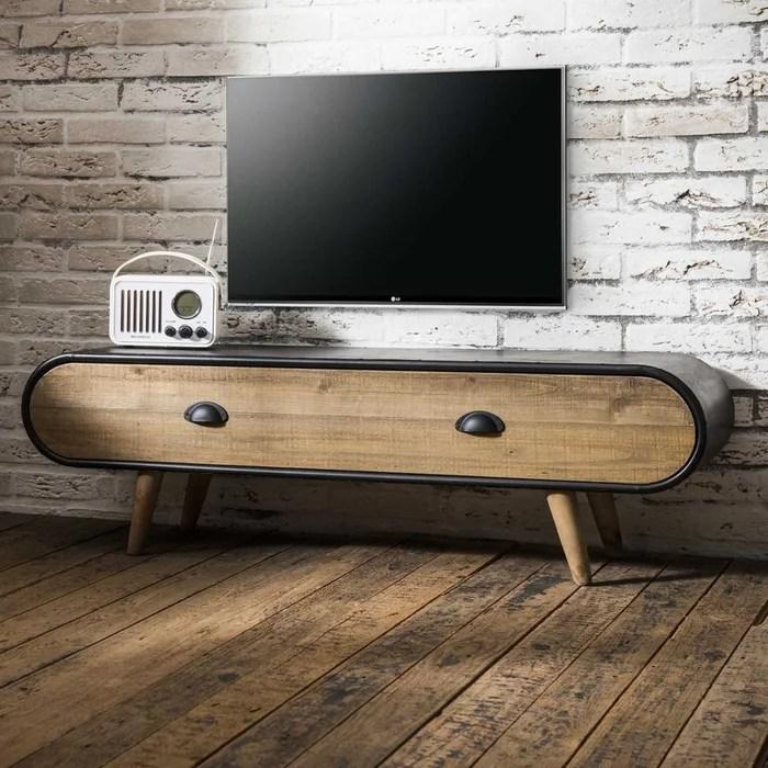 meuble tv 120cm bois massif et metal laque 1 tiroir style contemporain niagara