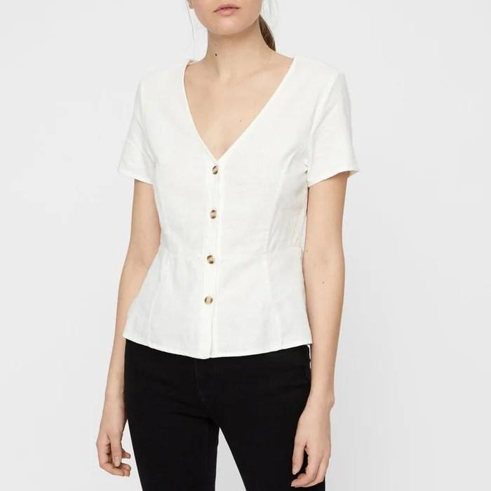Anna Milo V Neck Short Sleeved Blouse Vero Moda La Redoute