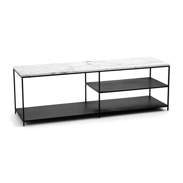 tv mobel aus metall und marmor mahaut
