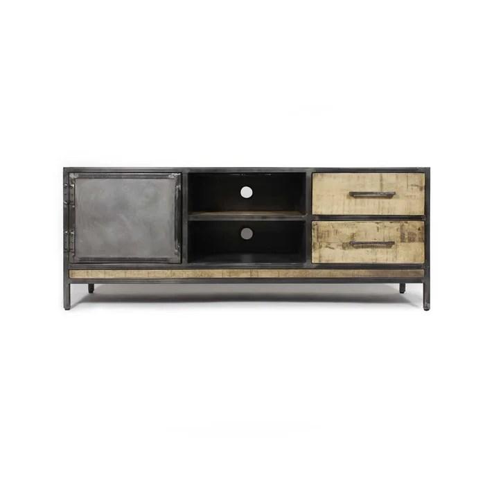 meuble tv industriel 1 porte 2 tiroirs manguier et metal
