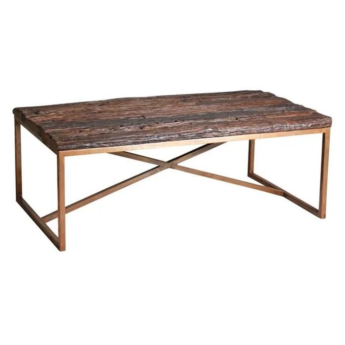 table basse en acier cuivre et bois massif