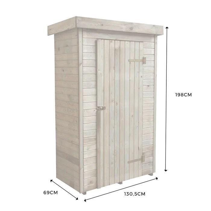 armoire de rangement de jardin en bois traite 198x130x69cm santiago