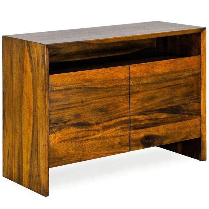 petit buffet en bois massif de manguier 2 portes style exotique contemporain 110 cm feni