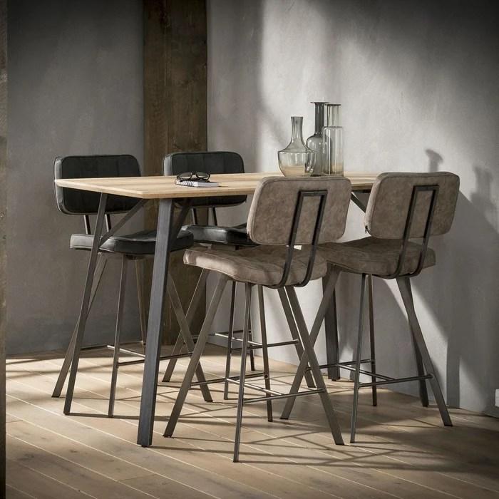 table haute mange debout bois clair et metal style contemporain 140x70cm helsinki
