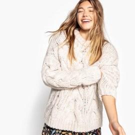 Imagen de Jersey con trenzados de punto grueso, de lana La Redoute Collections