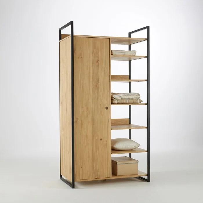 module armoire 1 porte penderie 6 etageres hiba