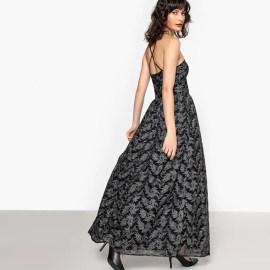 Imagen de Vestido largo, motivo plateado, ajustado en la cintura MADEMOISELLE R