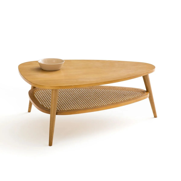 table basse vintage chene et cannage quilda