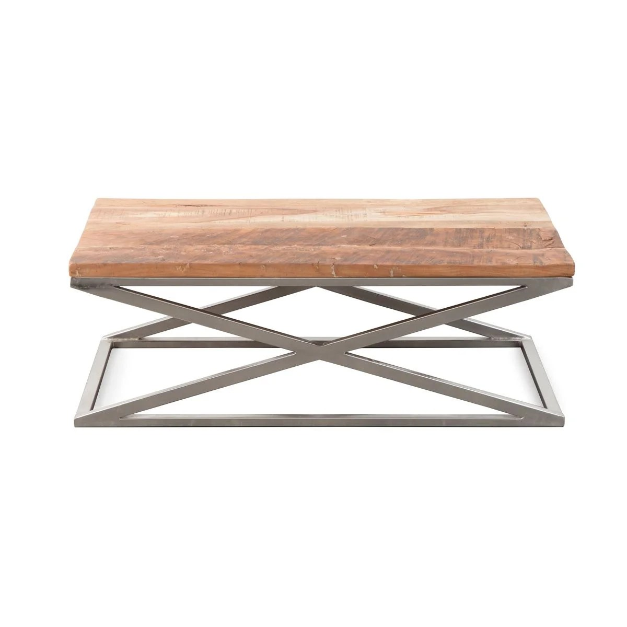 table basse pieds x metal gris bois orme