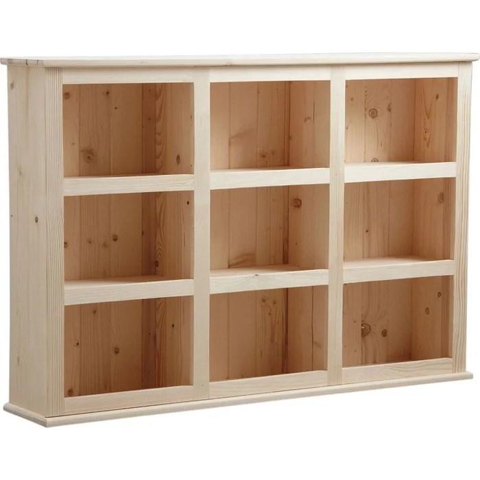 bibliotheque en bois brut 9 cases