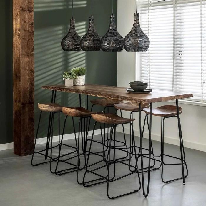 table haute bois d acacia massif metal 180 cm melbourne