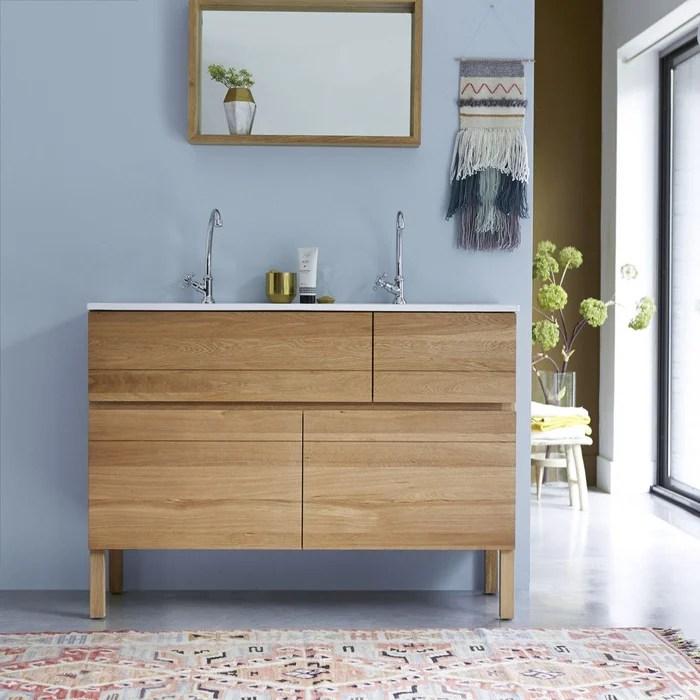 meuble salle de bain en bois de chene et ceramique 120 easy chene tikamoon la redoute