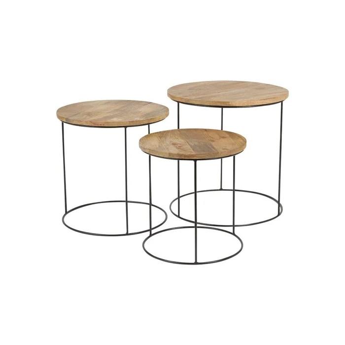 3 tables basses gigogne omango bois et metal
