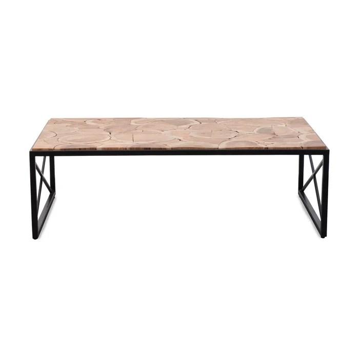 table basse industrielle rondin bois en acacia