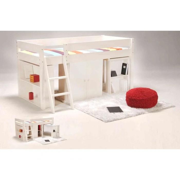 lit combine avec armoire et bureau en bois lt14034