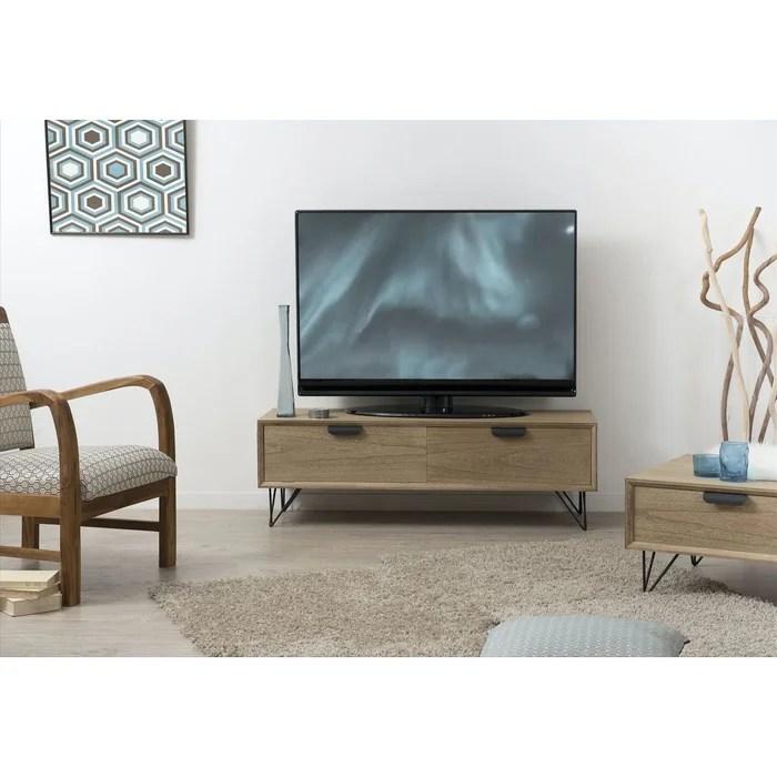 meuble tv 120cm bois pieds epingle metal 1 porte 1 tiroir style industriel et contemporain