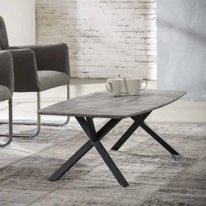 table basse contemporaine plateau effet beton 120x60cm helsinki