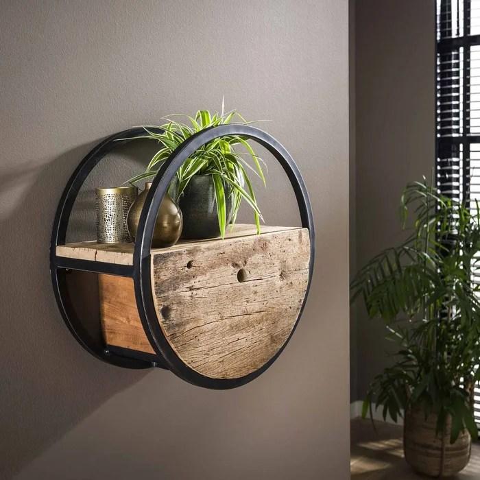 etagere murale ronde avec tiroir 50 cm bois recycle brut et metal noir style loft industriel cyclades