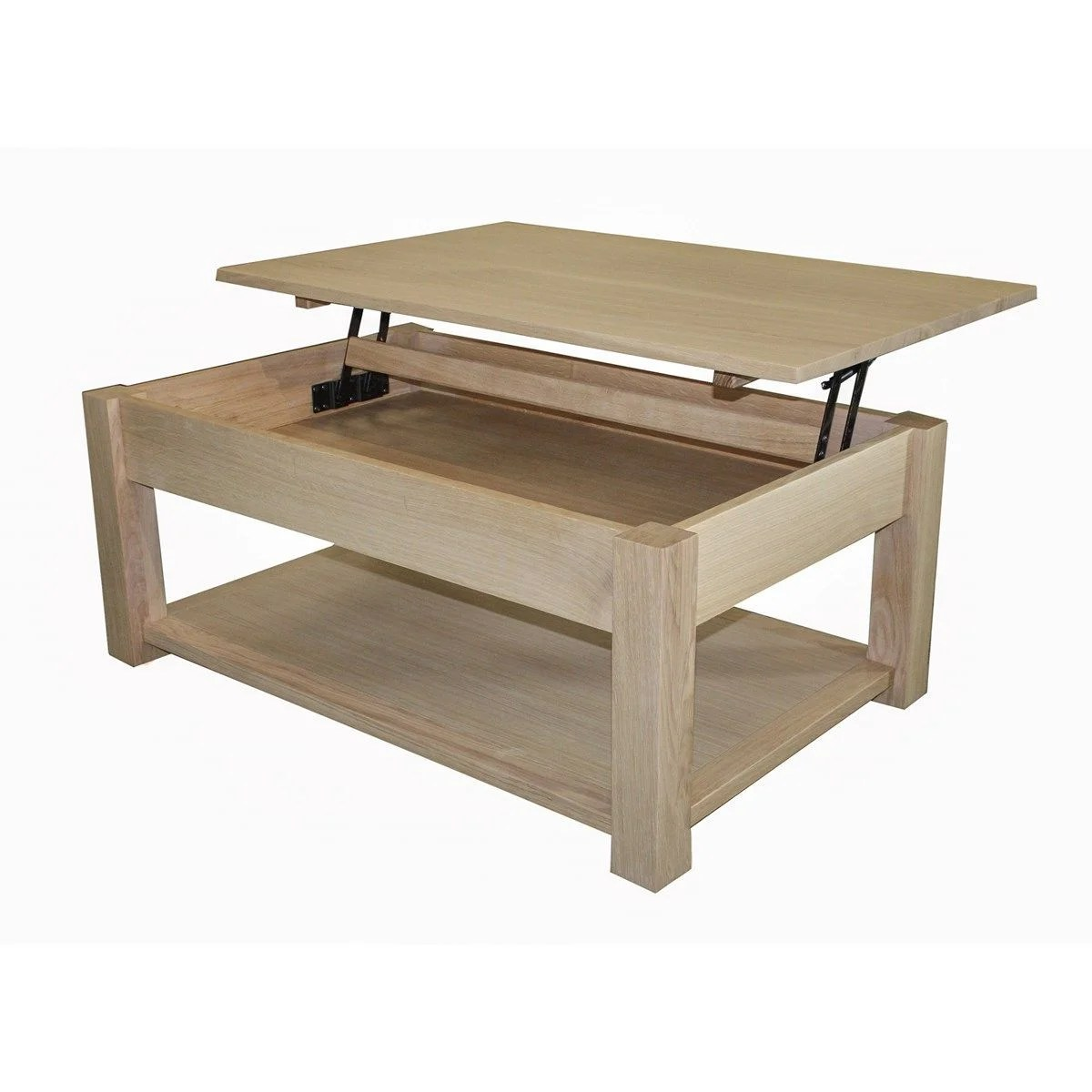table basse chene massif et laque relevable made in france
