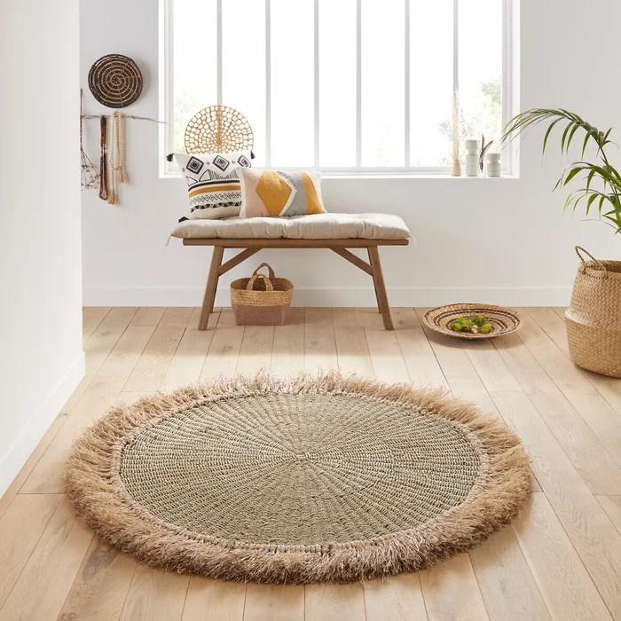 tapis rond avec franges loully